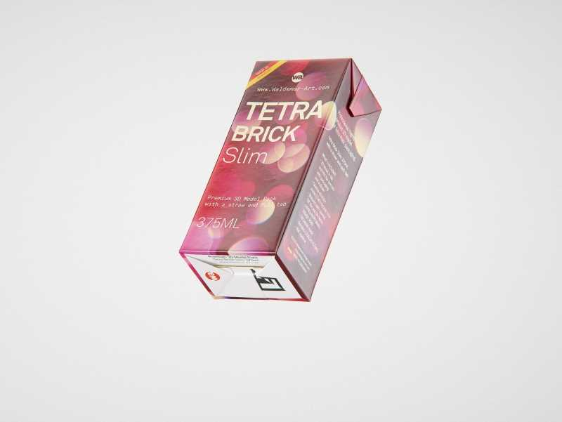 Tetra Pack Brick Slim 375ml with a Straw and Pull Tab packaging 3D model pak