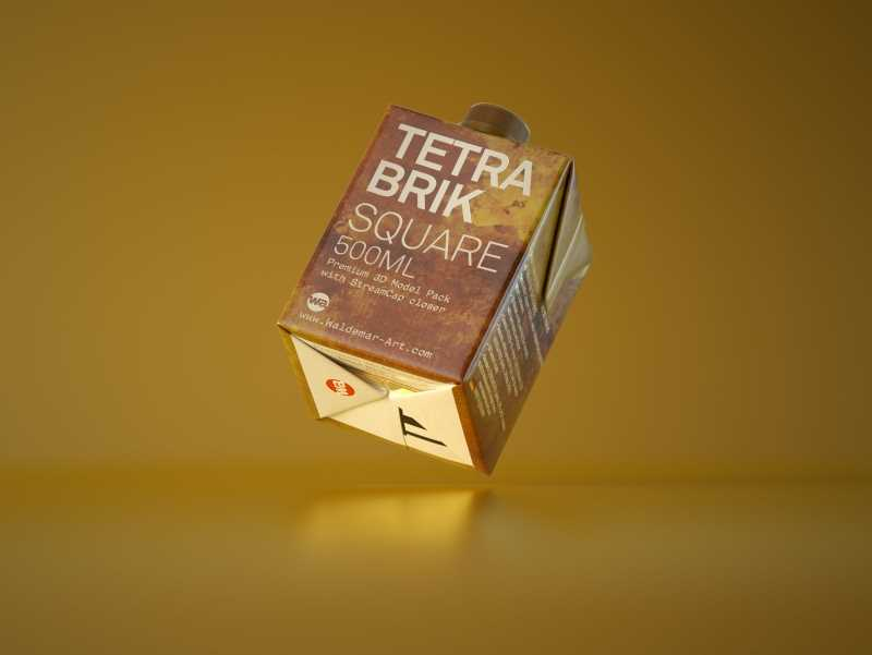 Tetra Pack Brick Square 500ml with StreamCap Premium 3D model pak