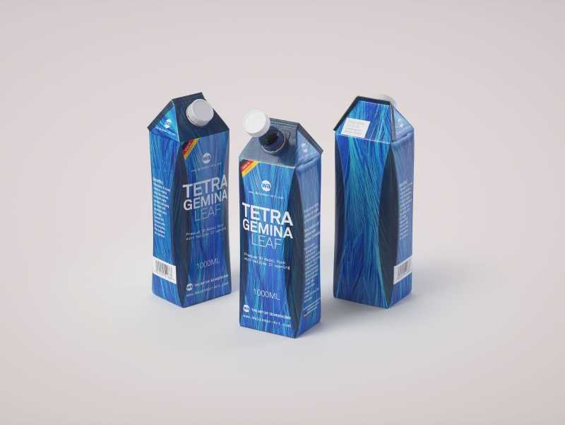 Packaging 3d model pak of Tetra Pack Gemina Leaf 1000ml with HeliCap 27