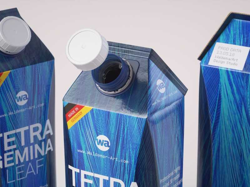 Packaging 3d model pak of Tetra Pack Gemina Lieaf 1000ml with HeliCap 27