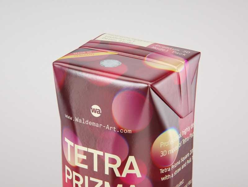 Tetra Pack Prisma Square 200ml packaging 3D model pak with PullTab and Straw