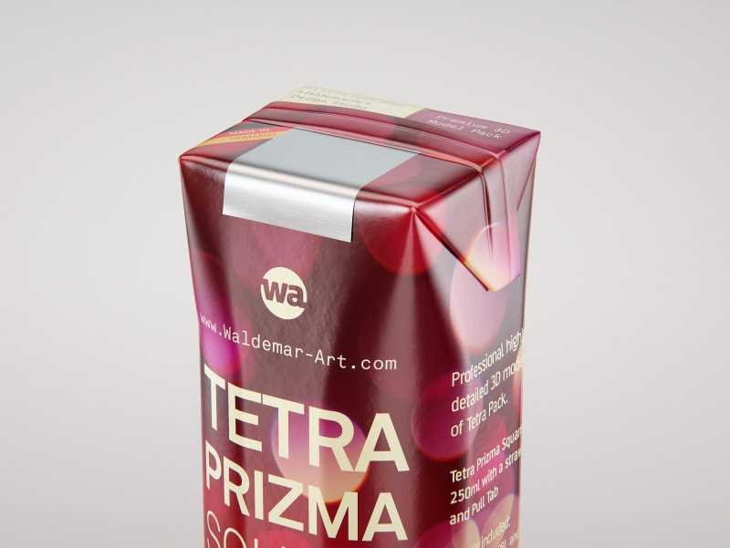 Packaging 3D model pak of Tetra Pack Prisma Square 250ml with PullTab and Straw