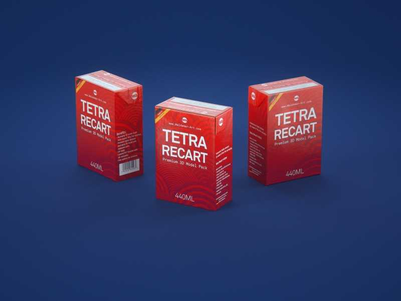 Tetra Pack Recart 440ml Premium carton packaging 3D model pak