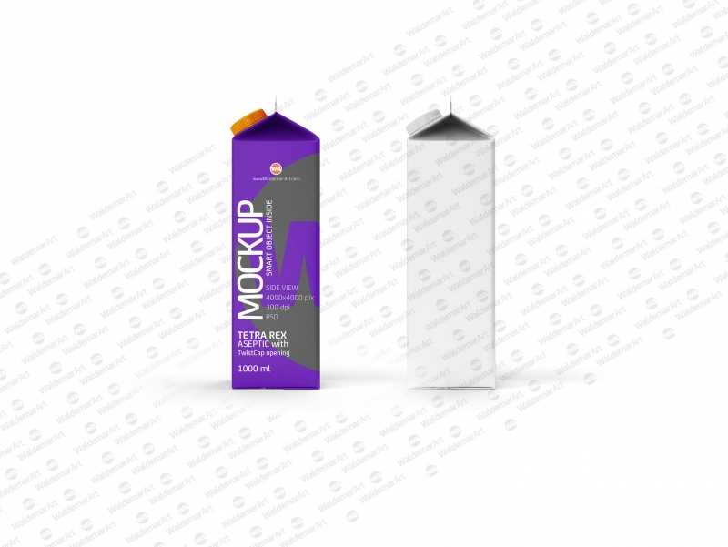 Photoshop Mockup of Tetra Pack Rex 1000ml with TwistCap Side View