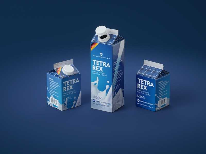 Tetra Pak Rex 500 and 1000ml carton package 3D models with TwistCap