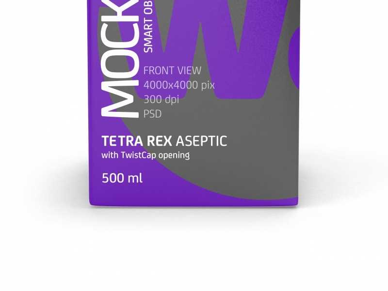 Package Mock-up of Tetra Pack Rex 500ml with TwistCap Front View
