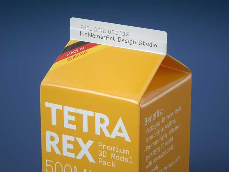 Tetra Pack REX 500ml Professional carton packaging 3D model pak