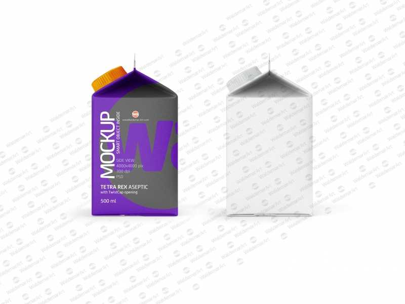 Package Mock-up of Tetra Pack Rex 500ml with TwistCap Side View