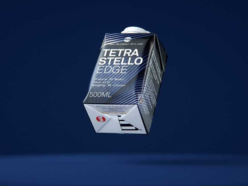 Packaging 3d model of Tetra Pack Stello EDGE 500ml with WingCap 30