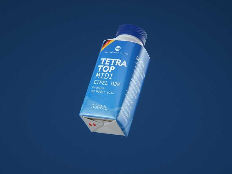 Packaging 3D model pak of Tetra Pack Top Midi 330ml with Eifel-O38