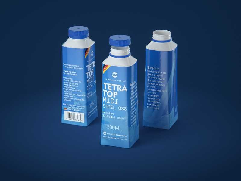 Tetra Top MIDI 500ml 3D model of carton package with Eifel O38 closure
