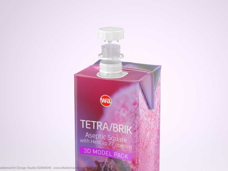 Tetra Pack Brick Square 1000ml with HeliCap 27 opening 3d model pak