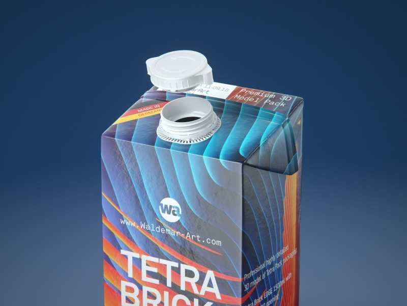 Tetra Pack Brick EDGE 1500ml with WingCap30 Carton packaging professional 3D model pak