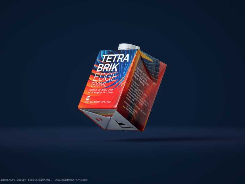 Tetra Pack Brick EDGE 500ml Premium packaging 3D model pak with WingCap 30 closer