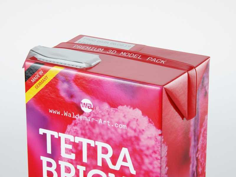 Tetra Pack Brick Aseptic Mid 1000ml packaging 3D model pak with FlexiCap