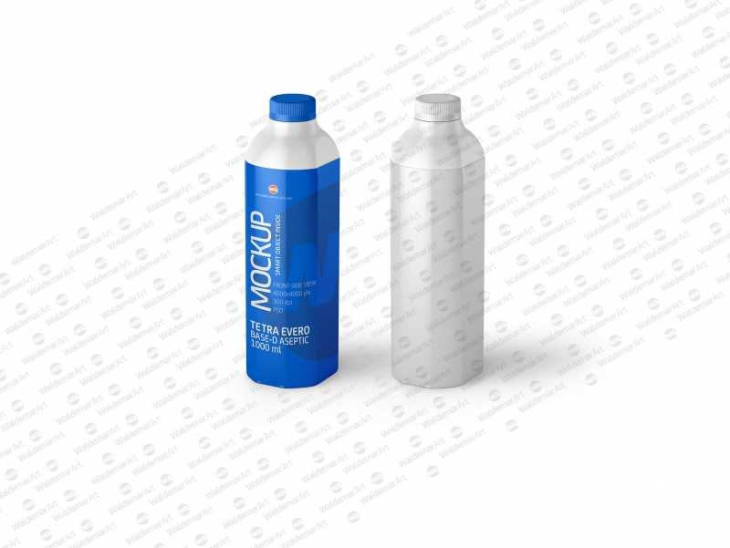 Packaging MockUp of Tetra Pack Evero Aseptic Base-D 1000ml with OrionTop-O38A Front-Side View