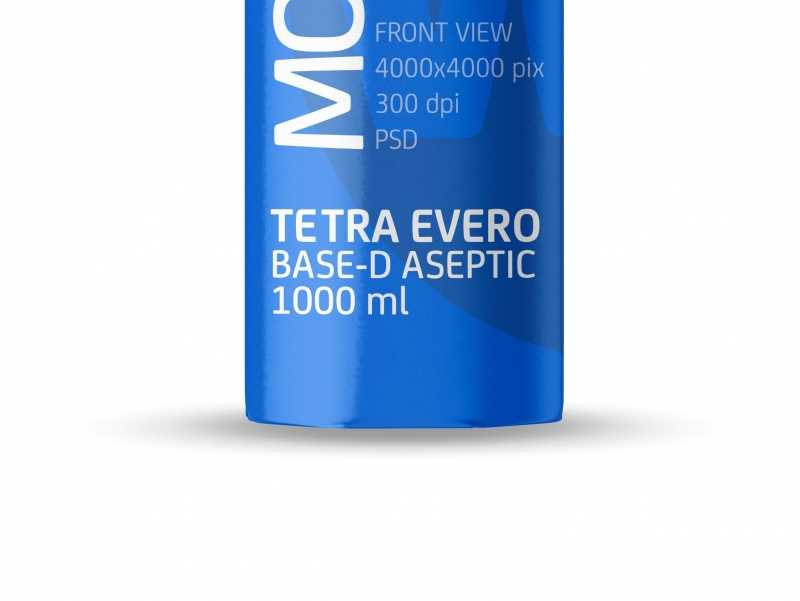 Packaging MockUp of Tetra Pack Evero Aseptic Base-D 1000ml with OrionTop-O38A Front View