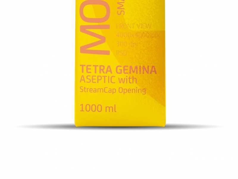 Tetra Pack Gemina Aseptic 1000ml Square Package MockUp with StreamCap Side View