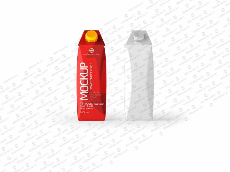 Tetra Pack Gemina Leaf 1000ml PSD Mockup. Front View