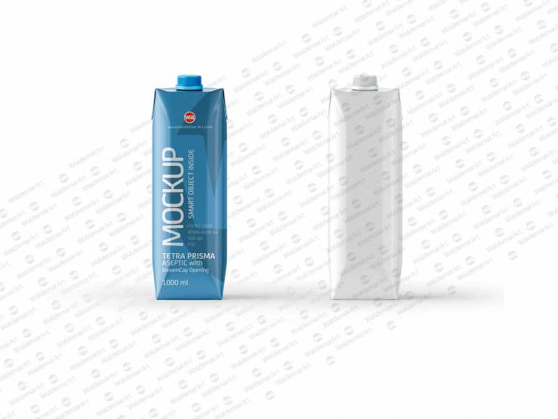 PSD Mockup of Tetra Pack Prisma 1000ml Front View