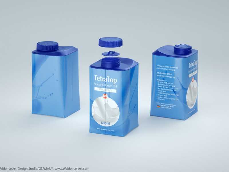 Premium 3D model pak of the Tetra Pack Top Base 500ml with Orinoco S38 closer