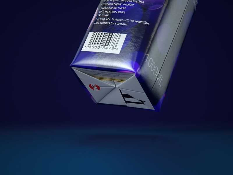 3d model pak of the Tetra Pack Top Base 1000ml with Eifel O38 closer