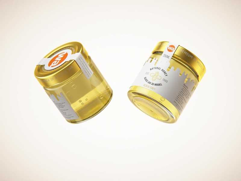 Acacia Honey Glass Jar 250g packaging 3D model