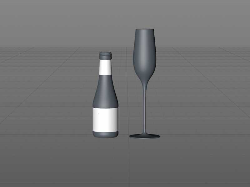 Fruit Secco glass bottle packaging 3D model 200ml with and a glass of fruit wine