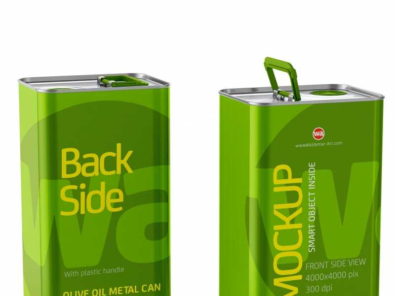 Olive Oil Metal Can 3Le Mockup Back Front Side View 2 pak