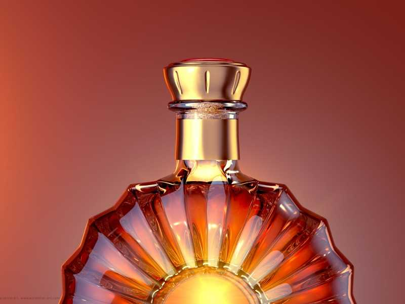 Reny - packaging 3d model of the glass bottle for cognac