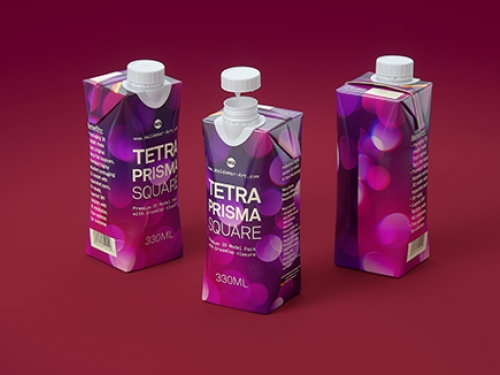 Tetra Pak Prisma Square 330ml premium 3d packaging model has been updated