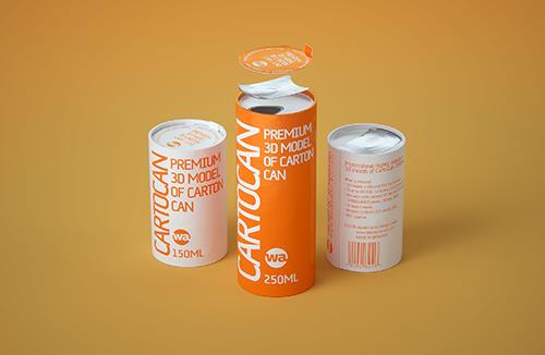 4 Shrink Film pack with Soda Can 350-355ml (WITHOUT WRINKLES) professional 3d packaging model pack