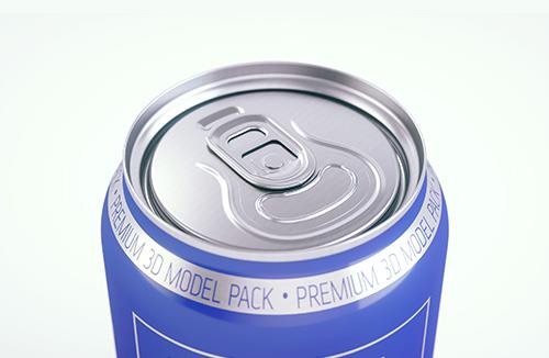 Plastic sleek can 3D packaging model 330/310ml
