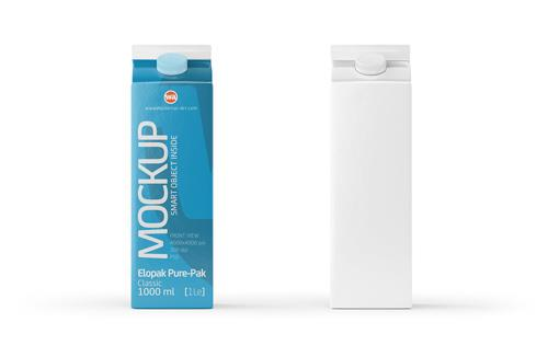 Tetra Pack Brick Mockup Aseptic 1000ml Slim with ReCap3 - Back view