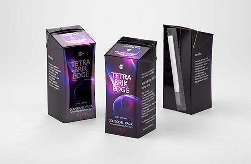 Tetra Pack Recart 340, 390 and 440ml carton packaging 3D model pak
