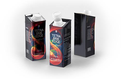 Tetra Pak Brik Edge 200ml with a straw carton packaging 3d model