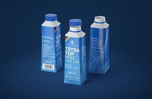 Free Packaging MockUp of Tetra Pack Wedge Aseptic 200ml Slim Straw