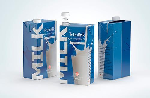Packaging MockUp of Tetra Pack Brick Aseptic 1000ml with LightCap30 Front-Side View