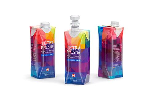 Tetra Pack Brick Mid 1000ml with FlexiCap PSD Mockup Side View