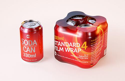 4 (four) shrink wrap packaging of 330ml standard soda can 3D model pack