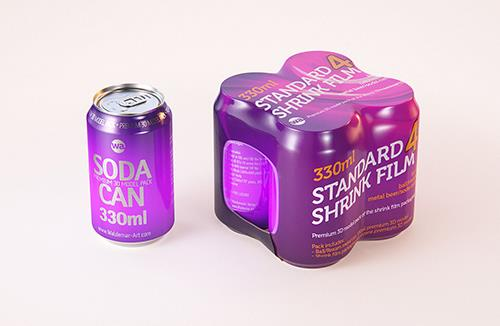 4 (four) Shrink Film pack with Standard Soda Can 330ml (WITHOUT WRINKLES) professional packaging 3D model pack