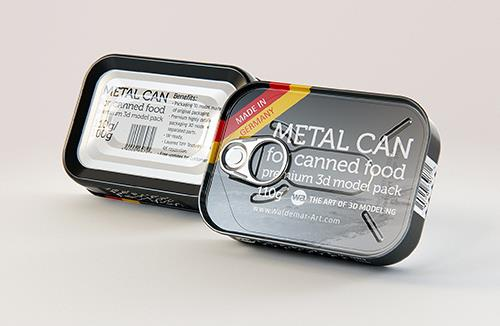 Metal Can 110g for canned sea food packaging 3D model pack with pull tab