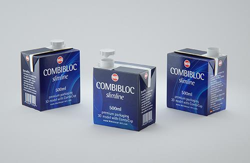 3D model of the SIG Combibloc Slimline 500ml packaging with combiCap