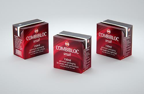 SIG CombiBloc Small 150ml with perforation and a straw hole packaging 3D model pak