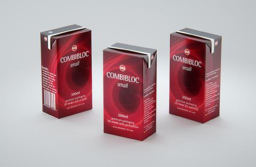 SIG CombiBloc Small 300ml with perforation and a straw hole packaging 3D model pak