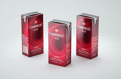 SIG CombiBloc Small 350ml with perforation and a straw hole packaging 3D model pak
