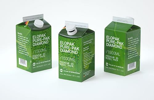 Elopak Pure-Pak Diamond 1500ml Premium packaging 3D model pack