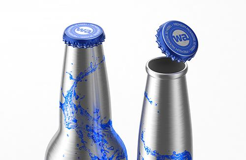 Impact Ball/Rexam metal bottles (long neck) 330 and 473ml packaging 3d model pack