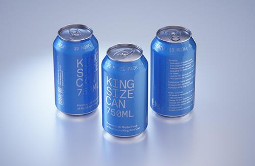 Ball/Rexam Metal King Size Can 750ml Premium packaging 3D model pack