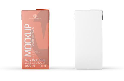 Tetra Brik Mockup Aseptic 1000ml Slim with ReCap3 - Back view